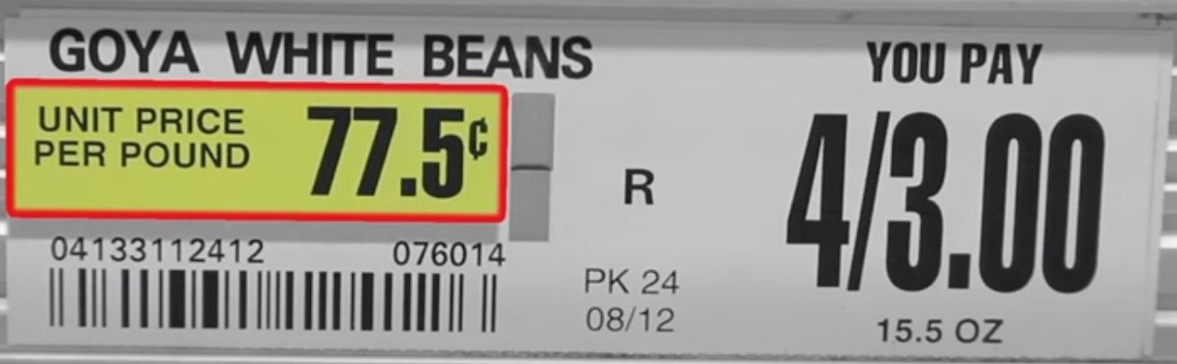 Price per unit shopping